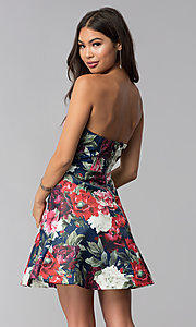 Image of short strapless floral-print wedding-guest dress. Style: LUX-LD4203 Back Image