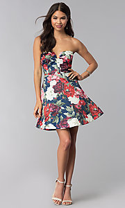 Image of short strapless floral-print wedding-guest dress. Style: LUX-LD4203 Detail Image 2