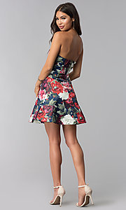 Image of short strapless floral-print wedding-guest dress. Style: LUX-LD4203 Detail Image 3