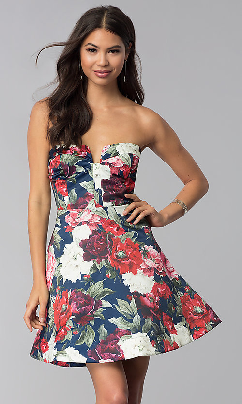 Image of short strapless floral-print wedding-guest dress. Style: LUX-LD4203 Front Image