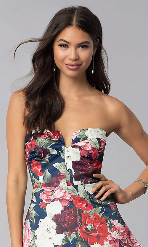 Image of short strapless floral-print wedding-guest dress. Style: LUX-LD4203 Detail Image 1