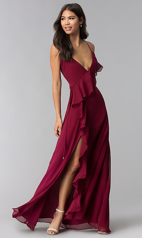 65d6f50eed7c Image of wine red long wedding-guest dress. Style: LUX-LD4524 Front