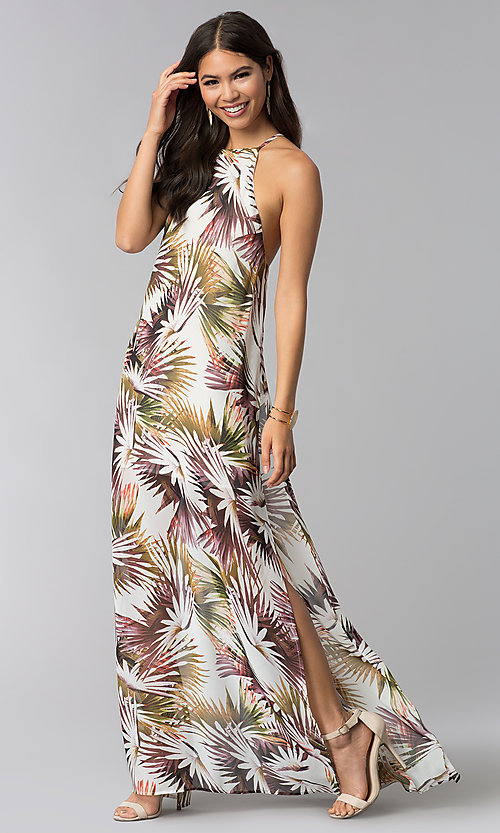 Image of long print wedding-guest dress with side slit. Style: LUX-LD4800 Front Image
