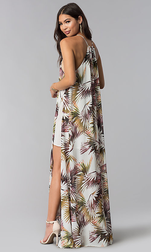 Image of long print wedding-guest dress with side slit. Style: LUX-LD4800 Back Image