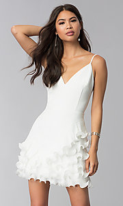 Image of short white v-neck graduation dress with ruffles. Style: LUX-LD4754 Front Image