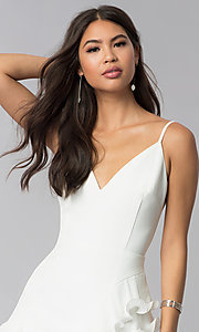 Image of short white v-neck graduation dress with ruffles. Style: LUX-LD4754 Detail Image 1