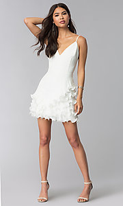 Image of short white v-neck graduation dress with ruffles. Style: LUX-LD4754 Detail Image 3