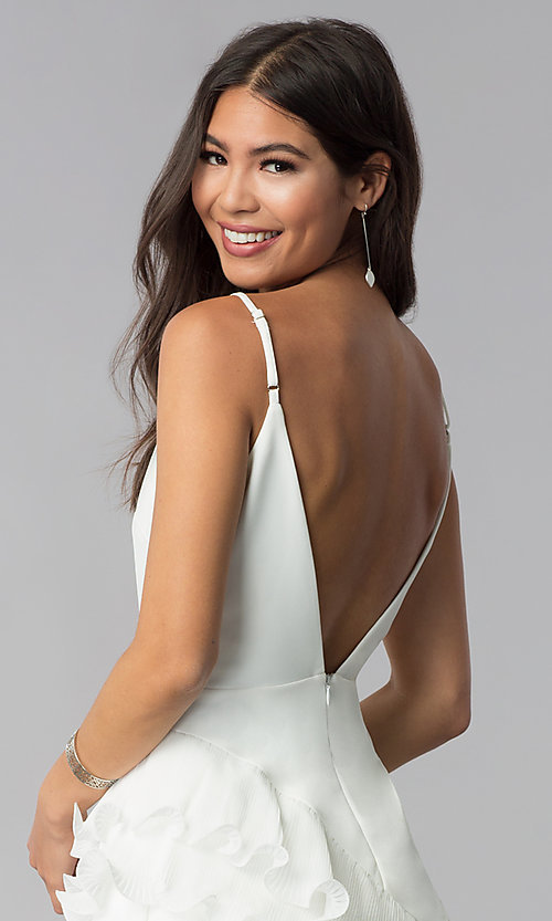 Image of short white v-neck graduation dress with ruffles. Style: LUX-LD4754 Detail Image 2
