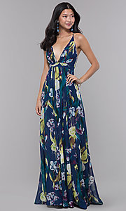 Image of low-v-neck long floral-print wedding guest dress. Style: LUX-LD4513 Front Image