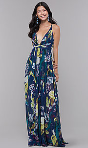 Image of low-v-neck long floral-print wedding guest dress. Style: LUX-LD4513 Detail Image 3