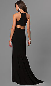Image of high-neck open-back long black prom dress. Style: FA-7976B Back Image