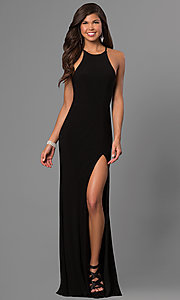 Image of high-neck open-back long black prom dress. Style: FA-7976B Front Image