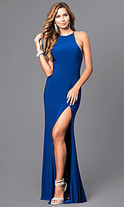 Image of high-neck open-back long black prom dress. Style: FA-7976B Detail Image 2