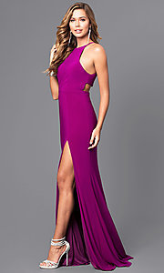 Image of high-neck open-back long black prom dress. Style: FA-7976B Detail Image 3