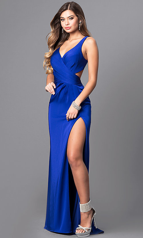 Long Royal Blue Satin Faviana Prom Dress - PromGirl