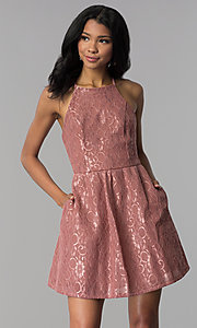 Image of short mauve wedding-guest party dress with pockets. Style: SS-D72411H828 Front Image