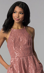 Image of short mauve wedding-guest party dress with pockets. Style: SS-D72411H828 Detail Image 1