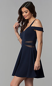 Image of midnight blue short a-line cold-shoulder party dress. Style: SS-D71711DNE Front Image