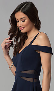 Image of midnight blue short a-line cold-shoulder party dress. Style: SS-D71711DNE Detail Image 1