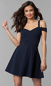 Image of midnight blue short a-line cold-shoulder party dress. Style: SS-D71711DNE Detail Image 2