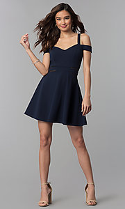 Image of midnight blue short a-line cold-shoulder party dress. Style: SS-D71711DNE Detail Image 3