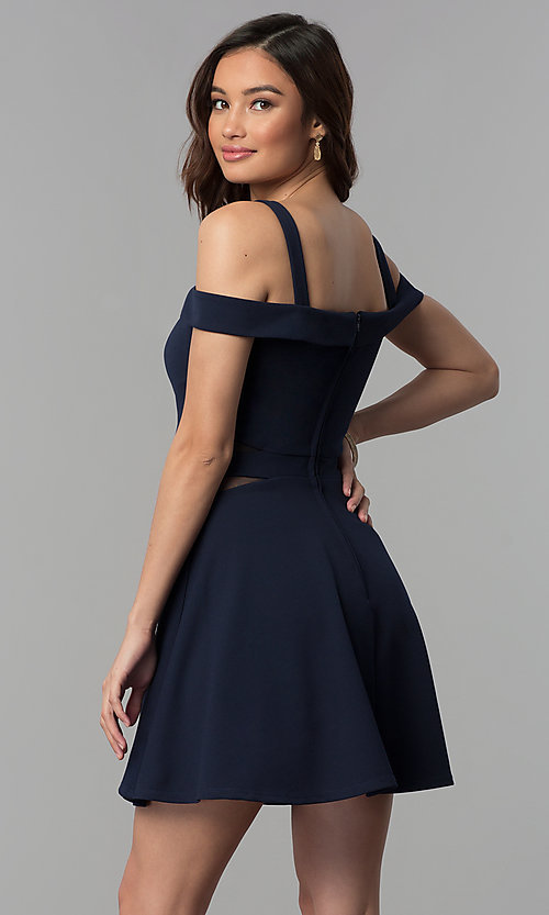 Image of midnight blue short a-line cold-shoulder party dress. Style: SS-D71711DNE Back Image