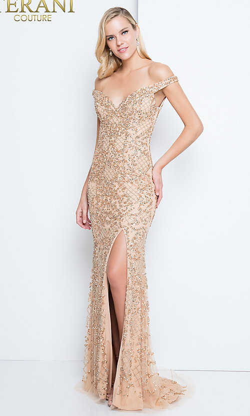 Long Nude Beaded Prom Dress by Terani