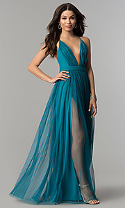 Image of teal green tulle prom dress with plunging v-neck. Style: LP-27450T Front Image