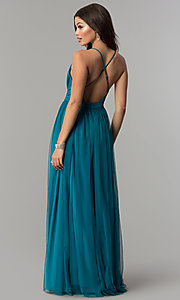 Image of teal green tulle prom dress with plunging v-neck. Style: LP-27450T Back Image