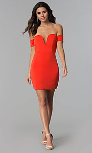 Image of coral red banded-sleeve off-shoulder party dress. Style: AC-DH24313E Detail Image 3
