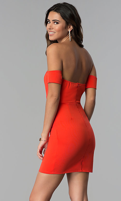 Image of coral red banded-sleeve off-shoulder party dress. Style: AC-DH24313E Back Image