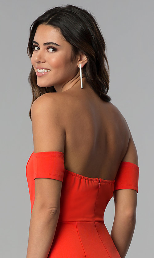 Image of coral red banded-sleeve off-shoulder party dress. Style: AC-DH24313E Detail Image 2
