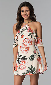 High-Neck Floral-Print Cold-Shoulder Party Dress