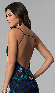 Image of crocheted-lace short party dress with open back. Style: AC-DS24309T Detail Image 2