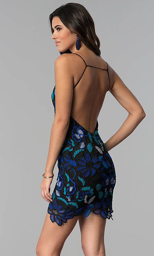 Image of crocheted-lace short party dress with open back. Style: AC-DS24309T Front Image