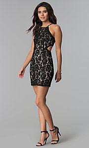 Image of short black lace party dress with cut outs. Style: AC-DS24384W Detail Image 3