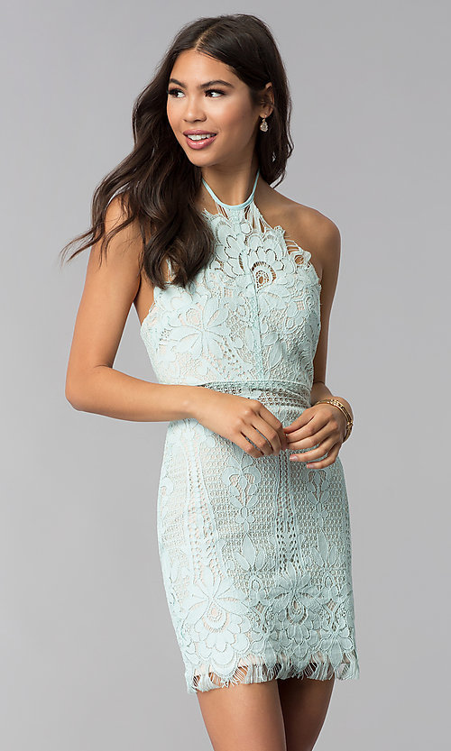 Image of short lace halter open-back party dress. Style: AC-DS24323T Front Image