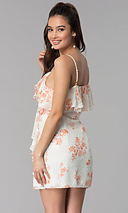 Image of floral-print v-neck short casual party dress. Style: AC-DSS24458W Back Image