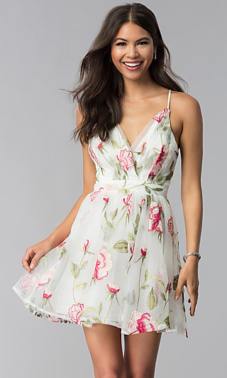 Short White Embroidered Graduation Party Dress