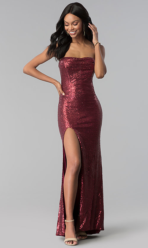 0761deaf9ec Image of sequin wine red strapless long prom dress. Style  LUX-LD4474 Front