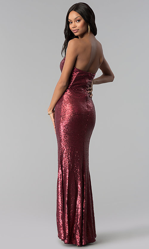 Strapless Long Wine Red Sequin Prom Dress