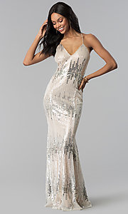 Image of long metallic-sequin v-neck prom dress. Style: LUX-LD4250 Front Image