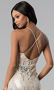 Image of long metallic-sequin v-neck prom dress. Style: LUX-LD4250 Detail Image 2