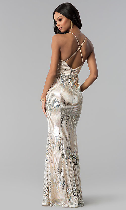 Image of long metallic-sequin v-neck prom dress. Style: LUX-LD4250 Back Image