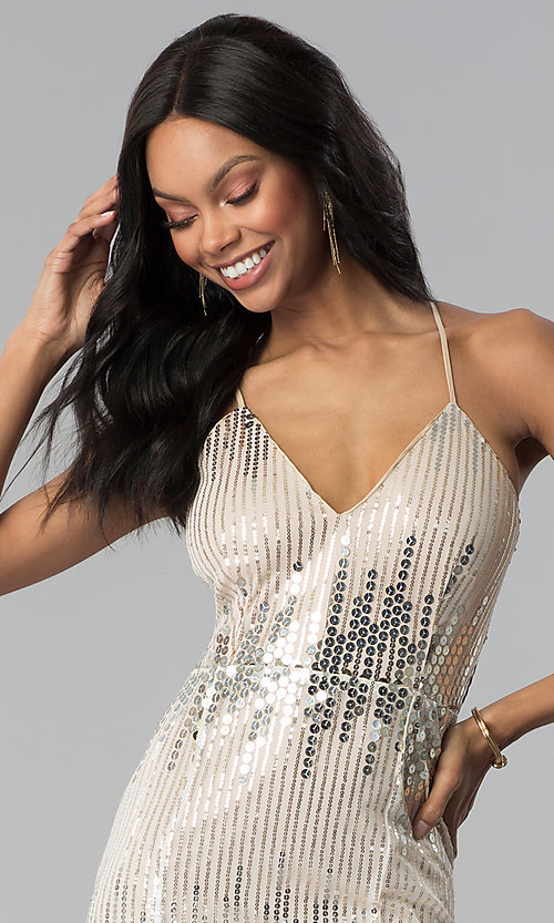 Image of long metallic-sequin v-neck prom dress. Style: LUX-LD4250 Detail Image 1