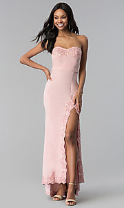 Image of strapless blush pink prom dress with lace. Style: LUX-LD3826 Front Image