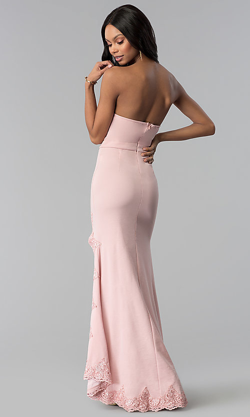 Image of strapless blush pink prom dress with lace. Style: LUX-LD3826 Back Image