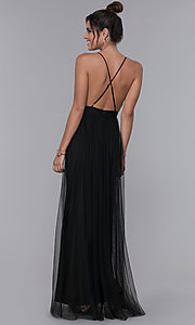 Image of long open-back lace-trimmed v-neck formal dress. Style: LUX-LD4735 Back Image