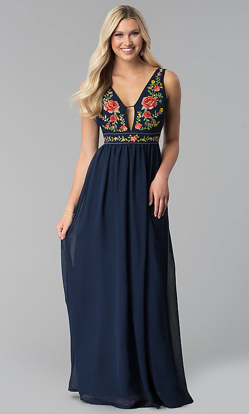 416cd9e2b6 Image of navy long v-neck prom dress with embroidered bodice. Style: SOI
