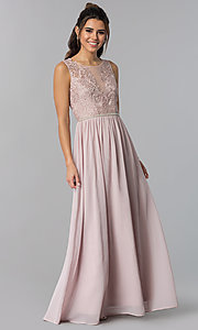 Image of embroidered-lace-bodice long chiffon prom dress. Style: SOI-M17879 Front Image